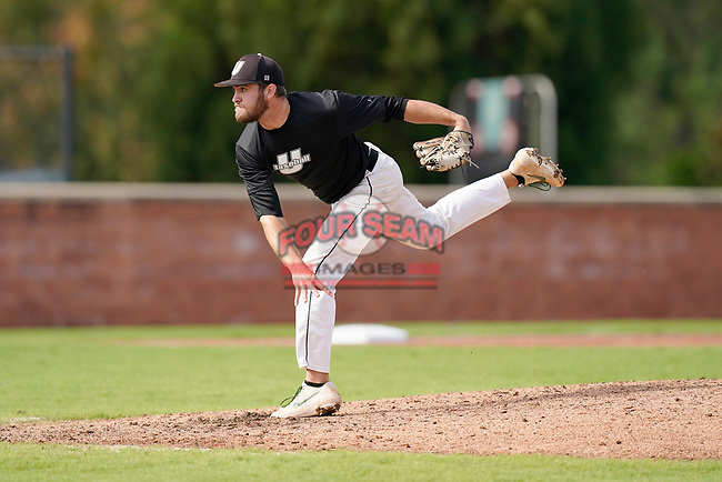 Nate Payne (43) of the University of South Carolina Upstate Spartans delivers a pitch in the Green and Black Fall World Series Game 2 on Saturday, October 31, 2020, at Cleveland S. Harley Park in Spartanburg, South Carolina. Green won, 6-5. (Tom Priddy/Four Seam Images)
