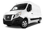 Stock pictures of low aggressive front three quarter view of 2016 Nissan NV400 Acenta 4 Door Cargo Van Low Aggressive