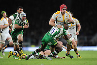 James Haskell of Wasps bulldozes his way over Topsy Ojo of London Irish during the Premiership Rugby match between London Irish and Wasps - 28/11/2015 - Twickenham Stadium, London<br /> Mandatory Credit: Rob Munro/Stewart Communications