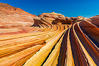 The Second Wave formation perspective on its thin ridges and undulating shapes under a blue sky, in North Coyote buttes of Paria Canyon, Arizona USA