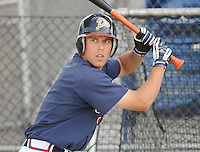 June 19, 2008: Outfielder David Berres (1) of the Danville Braves, rookie Appalachian League affiliate of the Atlanta Braves, prior to a game against the Burlington Royals at Dan Daniel Memorial Park in Danville, Va. Photo by:  Tom Priddy/Four Seam Images