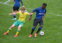 Billy Check (left) and Joao Moreira during the Central League football match between Miramar Rangers and Lower Hutt AFC at David Farrington Park in Wellington, New Zealand on Saturday, 10 April 2021. Photo: Dave Lintott / lintottphoto.co.nz