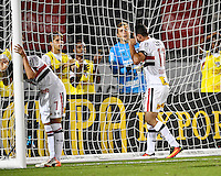 Orlando, FL - Saturday Jan. 21, 2017: São Paulo forward Gilberto (17) reacts to a missed header during the second half of the Florida Cup Championship match between São Paulo and Corinthians at Bright House Networks Stadium. The game ended 0-0 in regulation with São Paulo defeating Corinthians 4-3 on penalty kicks