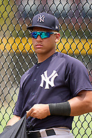 New York Yankees Agustin Ramirez (38) after an Extended Spring Training game against the Detroit Tigers on June 19, 2021 at Tigertown in Lakeland, Florida.  (Mike Janes/Four Seam Images)