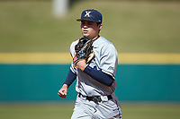 Conor Grammes (4) of the Xavier Musketeers on defense against the Penn State Nittany Lions at Coleman Field at the USA Baseball National Training Center on February 25, 2017 in Cary, North Carolina. The Musketeers defeated the Nittany Lions 10-4 in game one of a double header. (Brian Westerholt/Four Seam Images)