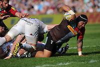 Mat Luamanu of Harlequins reaches for the line during the Aviva Premiership match between Harlequins and Exeter Chiefs at The Twickenham Stoop on Saturday 7th May 2016 (Photo: Rob Munro/Stewart Communications)