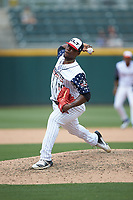 Charlotte Knights relief pitcher Thyago Vieira (10) in action against the Durham Bulls at BB&T BallPark on May 27, 2019 in Charlotte, North Carolina. The Bulls defeated the Knights 10-0. (Brian Westerholt/Four Seam Images)