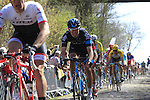Riders, including Luke Rowe (GBR) Team Sky, tackle Sector 18 la Trouee de Arenberg during the 113th edition of the Paris-Roubaix 2015 cycle race held over the cobbled roads of Northern France. 12th April 2015.<br /> Photo: Eoin Clarke www.newsfile.ie