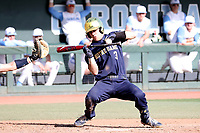CHAPEL HILL, NC - MARCH 08: David LaManna #3 of the University of Notre Dame is hit by a pitch while attempting to bunt during a game between Notre Dame and North Carolina at Boshamer Stadium on March 08, 2020 in Chapel Hill, North Carolina.