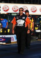 Jul. 26, 2013; Sonoma, CA, USA: Rob Wendland , crew chief for NHRA funny car driver Johnny Gray during qualifying for the Sonoma Nationals at Sonoma Raceway. Mandatory Credit: Mark J. Rebilas-