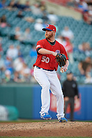 Buffalo Bisons relief pitcher Buddy Boshers (50) during an International League game against the Norfolk Tides on June 22, 2019 at Sahlen Field in Buffalo, New York.  Buffalo defeated Norfolk 3-0.  (Mike Janes/Four Seam Images)