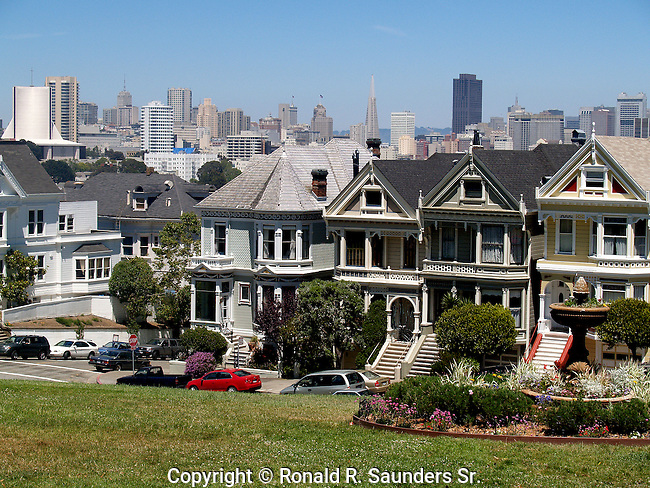 Row of Victorian Homes unique for its colorful (colourful)pastel exteriors, and typically seen in San Francisco, California, USA. (4)<br /> aka:PAINTED LADIES