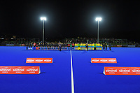The teams line up before the Sentinel Homes Trans Tasman Series hockey match between the New Zealand Black Sticks Women and the Australian Hockeyroos at Massey University Hockey Turf in Palmerston North, New Zealand on Tuesday, 1 June 2021. Photo: Dave Lintott / lintottphoto.co.nz