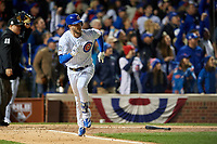 Chicago Cubs Kris Bryant (17) runs to first base after hitting a home run in the fourth inning during Game 5 of the Major League Baseball World Series against the Cleveland Indians on October 30, 2016 at Wrigley Field in Chicago, Illinois.  (Mike Janes/Four Seam Images)