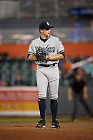 Staten Island Yankees relief pitcher Drew Finley (51) gets ready to deliver a pitch during a game against the Aberdeen IronBirds on August 23, 2018 at Leidos Field at Ripken Stadium in Aberdeen, Maryland.  Aberdeen defeated Staten Island 6-2.  (Mike Janes/Four Seam Images)