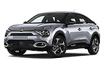 Stock pictures of low aggressive front three quarter view of 2021 Citroen C4 Shine-Pack 5 Door SUV Low Aggressive