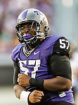 TCU Horned Frogs defensive tackle Davion Pierson (57) in action during the game between the Grambling State Tigers and the TCU Horned Frogs  at the Amon G. Carter Stadium in Fort Worth, Texas. TCU defeats Grambling State 59 to 0.