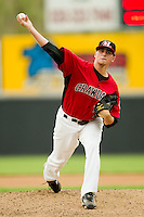 Starting pitcher Matt Thompson #16 of the Hickory Crawdads in action against the Kannapolis Intimidators at  L.P. Frans Stadium August 1, 2010, in Hickory, North Carolina.  Photo by Brian Westerholt / Four Seam Images