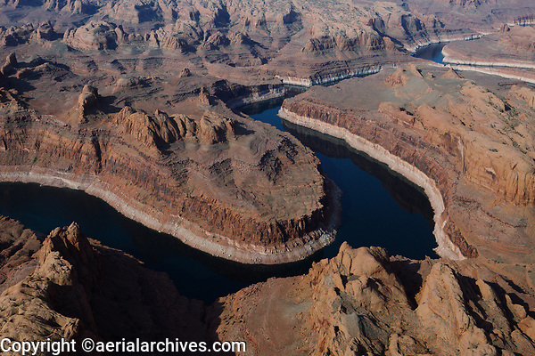 aerial photograph of the San Juan River a tributary to Lake Powell, Arizona at a very low level during a drought