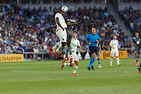 SAINT PAUL, MN - JUNE 23: Justin McMaster #24 of Minnesota United FC battles for the header during a game between Austin FC and Minnesota United FC at Allianz Field on June 23, 2021 in Saint Paul, Minnesota.