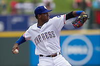 Round Rock Express shortstop Jurickson Profar #10 in action against the New Orleans Zephyrs in the Pacific Coast League baseball game on April 21, 2013 at the Dell Diamond in Round Rock, Texas. Round Rock defeated New Orleans 7-1. (Andrew Woolley/Four Seam Images).