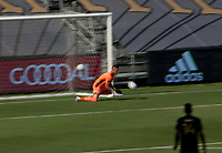 LOS ANGELES, CA - AUGUST 22: David Bingham #1 GK  of the Los Angeles Galaxy makes a save during a game between Los Angeles Galaxy and Los Angeles FC at Banc of California Stadium on August 22, 2020 in Los Angeles, California.