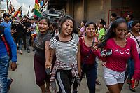 Young girls parade during a youth leading demonstration of the regional coca growers' union, in Eterazama town, Chapare region, Bolivia. December 01, 2019.<br /> Des jeunes filles défilent lors d'une manifestation de jeunes dirigeantes du syndicat régional des cultivateurs de coca, dans la ville d'Eterazama, région du Chapare, Bolivie. 01 décembre 2019.