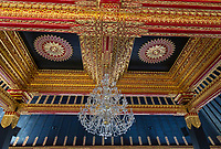 Yogyakarta, Java, Indonesia.  Chandelier and Ceiling of Entrance Hall to the Museum, Sultan's Palace.