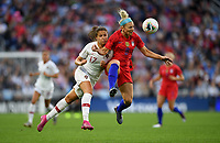 Saint Paul, MN - SEPTEMBER 03: Vanessa Marques #17 of Portugal and Julie Ertz #8 of the United States during their 2019 Victory Tour match versus Portugal at Allianz Field, on September 03, 2019 in Saint Paul, Minnesota.
