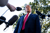 United States President Donald J. Trump speaks to reporters as he departs the White House for a rally in Ohio, on Monday, September 21, 2020 in Washington DC. <br /> Credit: Kevin Dietsch / Pool via CNP