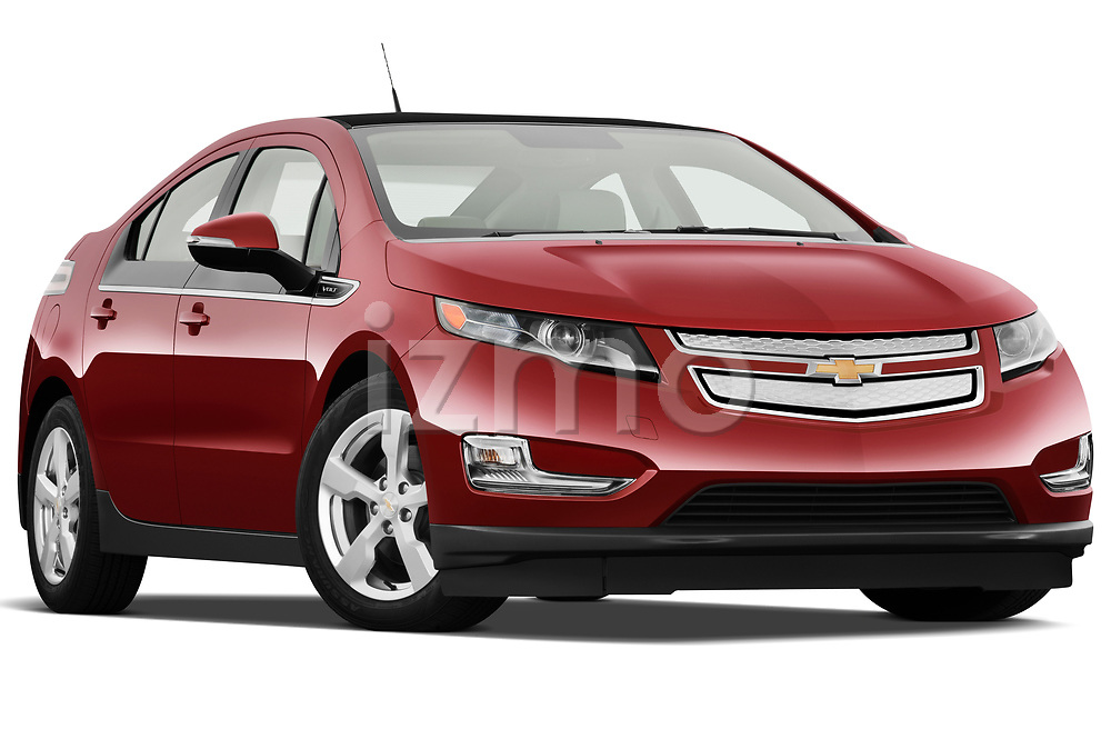 Low aggressive passenger side front three quarter view of a 2011 Chevrolet Volt