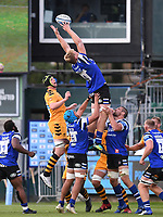 31st August 2020; Recreation Ground, Bath, Somerset, England; English Premiership Rugby, Josh McNally of Bath leans back to win the lineout ball