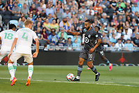 SAINT PAUL, MN - JUNE 23: Niko Hansen #11 of Minnesota United FC with the ball during a game between Austin FC and Minnesota United FC at Allianz Field on June 23, 2021 in Saint Paul, Minnesota.