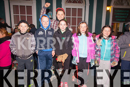 Taking part in the procession of light in Cahersiveen on Saturday night part of the turning on of the lights were l-r; Kieran O.Donnell, David O'Neill, David O'Malley, Shannon O'Donnell, Tammy & Shauna O'Neill.