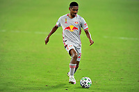 WASHINGTON, DC - SEPTEMBER 12: Jason Pendant #24 of New York Red Bulls moves the ball during a game between New York Red Bulls and D.C. United at Audi Field on September 12, 2020 in Washington, DC.