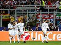 Calcio, finale di Champions League: Real Madrid vs Atletico Madrid. Stadio San Siro, Milano, 28 maggio 2016.<br /> Real Madrid's Sergio Ramos, second from left, celebrates with teammates Karim Benzema, left, Cristiano Ronaldo, second from right, and Gareth Bale, after scoring during the the Champions League final match between Real Madrid and Atletico Madrid, at Milan's San Siro stadium, 28 May 2016.<br /> UPDATE IMAGES PRESS/Isabella Bonotto