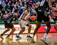 18 December 2019: University of Vermont Catamount Guard Stef Smith, a Junior from Ajax, Ontario in first half action against the UNC Greensboro Spartans at Patrick Gymnasium in Burlington, Vermont. The Spartans edged out the Catamounts 54-53 in the final minutes of play. Mandatory Credit: Ed Wolfstein Photo *** RAW (NEF) Image File Available ***18 December 2019: University of Vermont Catamount Guard Ben Shungu, a Redshirt Junior from Burlington, VT, in first half action against the UNC Greensboro Spartans at Patrick Gymnasium in Burlington, Vermont. The Spartans edged out the Catamounts 54-53 in the final minutes of play. Mandatory Credit: Ed Wolfstein Photo *** RAW (NEF) Image File Available ***