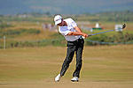 Mark Belsham of England on the 13th hole during day one of The Senior Open Golf Tournament at The Royal Porthcawl Golf Club in South Wales this afternoon.