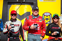 Sep 15, 2019; Mohnton, PA, USA; NHRA top fuel drivers Steve Torrence (left), Doug Kalitta (center) and Brittany Force during the Reading Nationals at Maple Grove Raceway. Mandatory Credit: Mark J. Rebilas-USA TODAY Sports