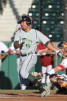 Stefan Sabol #16 of the Oregon Ducks bats against the USC Trojans at Dedeaux Field in Los Angeles,California on April 15, 2011. Photo by Larry Goren/Four Seam Images