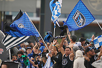 SAN JOSE, CA - FEBRUARY 29: Fans celebrate during a game between Toronto FC and San Jose Earthquakes at Earthquakes Stadium on February 29, 2020 in San Jose, California.