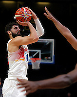 Spain's Nikola Mirotic shoots the ball during European championship semi-final basketball match between France and Spain on September 17, 2015 in Lille, France  (credit image & photo: Pedja Milosavljevic / STARSPORT)