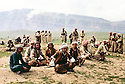 Iraq 1963 .Rest of the peshmergas in a field.Irak 1963.Peshmergas se reposant dans un champ