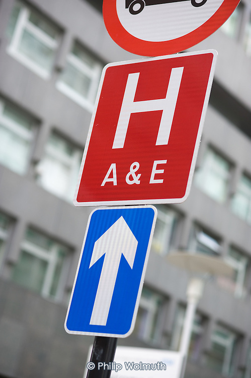 Accident and Emergency sign at University College Hospital, London.