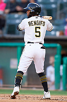 Luis Rengifo (5) of the Salt Lake Bees bats against the Albuquerque Isotopes at Smith's Ballpark on April 24, 2019 in Salt Lake City, Utah. The Isotopes defeated the Bees 5-4. (Stephen Smith/Four Seam Images)