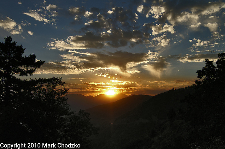 Sunset and whispy clouds over the San Bernardino Mountains.