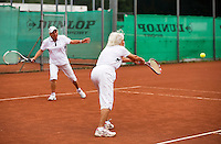 Netherlands, Amstelveen, August 18, 2015, Tennis,  National Veteran Championships, NVK, TV de Kegel,  Lady's doubles 80+ years,  Bea Nerden and Wil Sevenstern-van der Ree (R)<br /> Photo: Tennisimages/Henk Koster