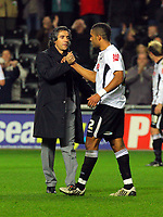 ATTENTION SPORTS PICTURE DESK<br /> Pictured: Paulo Sousa manager of Swansea City and Ashley Williams of Swansea City <br /> Re: Coca Cola Championship, Swansea City Football Club v Plymouth Argyle at the Liberty Stadium, Swansea, south Wales. Tuesday 08 December 2009