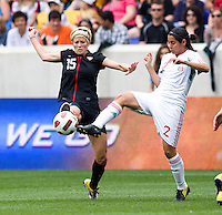 Megan Rapinoe (15) of the USWNT  fights for the ball with Kenti Robles (2) of Mexico during the game at Red Bull Arena in Harrison, NJ.  The USWNT defeated Mexico, 1-0.