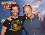 Christian Borle and  James Hindman attend the cast photo call for 'Popcorn Falls' at the Jerry Orbach Theatre on September 6, 2018 in New York City.